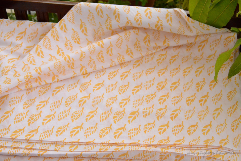 Block Printed Organic Cotton Fabric - SWEET SUMMER ( Leaves, Sunshine )