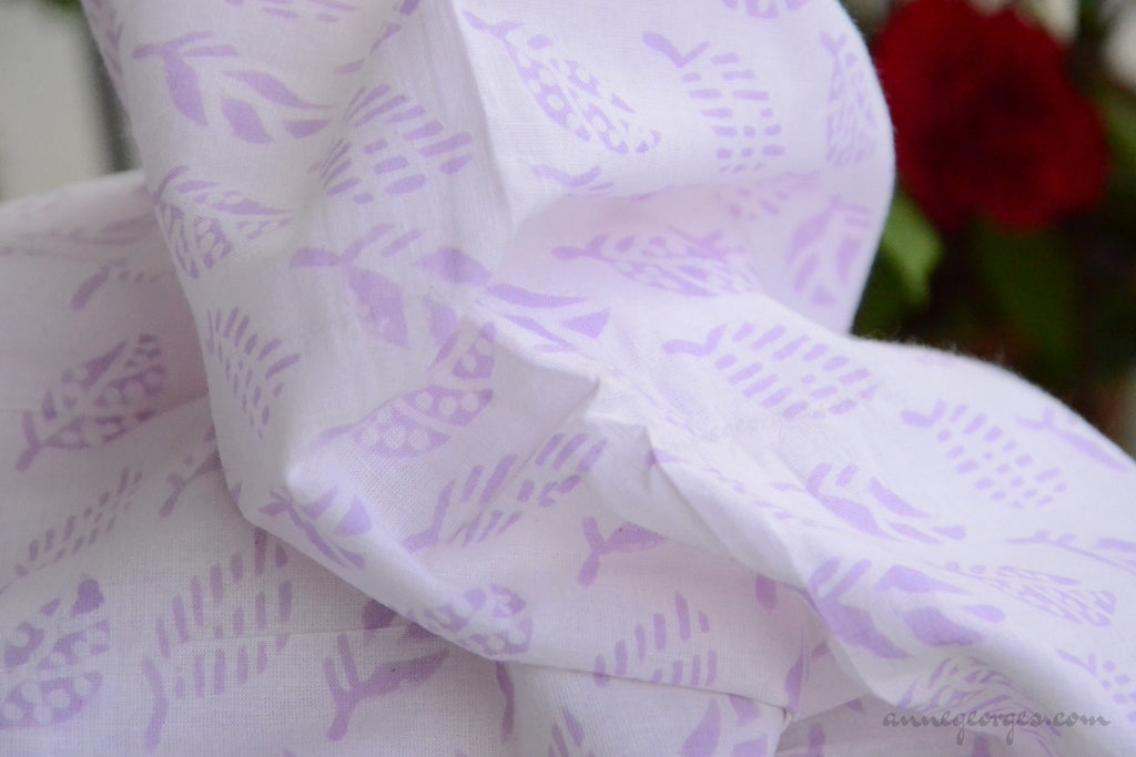 Block Printed Organic Cotton Fabric - SWEET SUMMER ( Leaves, Lavender )