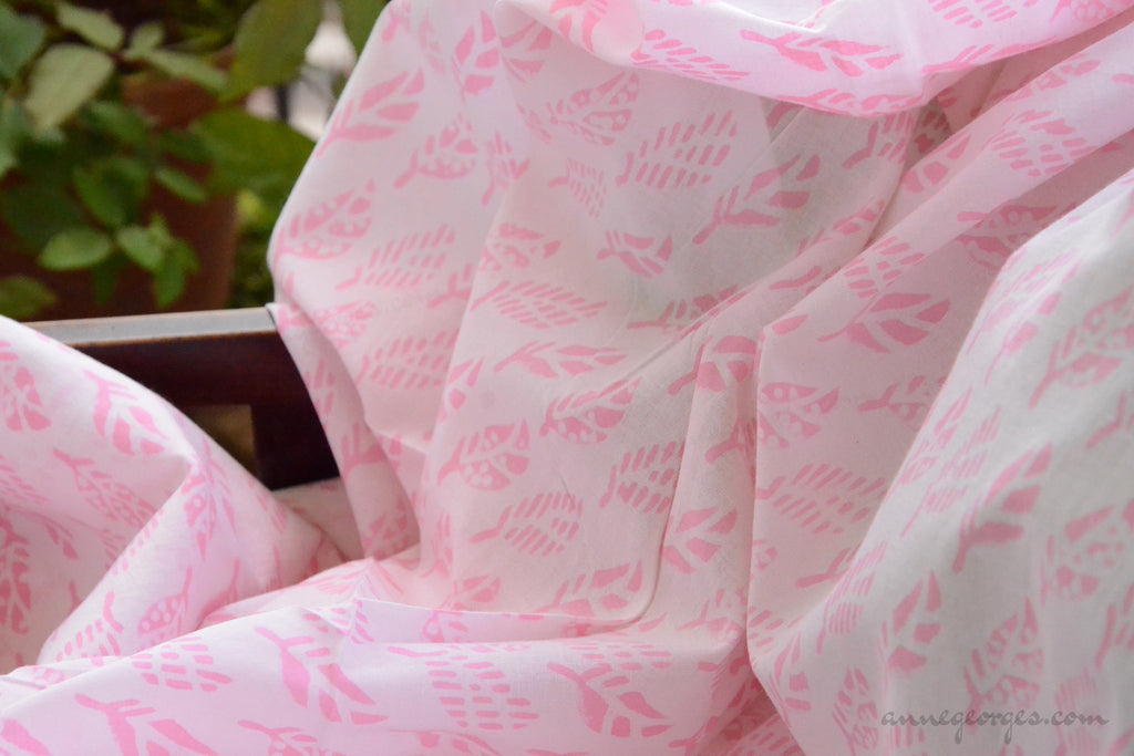 Block Printed Organic Cotton Fabric - SWEET SUMMER ( Leaves, Candy )