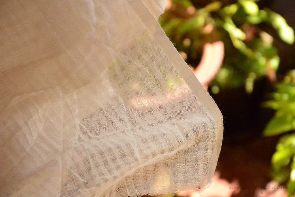 Organic Cotton Handwoven Fabric ( Gingham Plaids, Unbleached Dyeable )