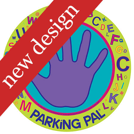 Alphabet purple car magnet with hand print to keep kids safe in parking lots