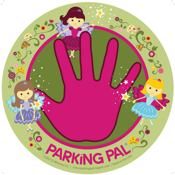 Fairy pink hand print removable car magnet toddler safety around vehicles in parking lots