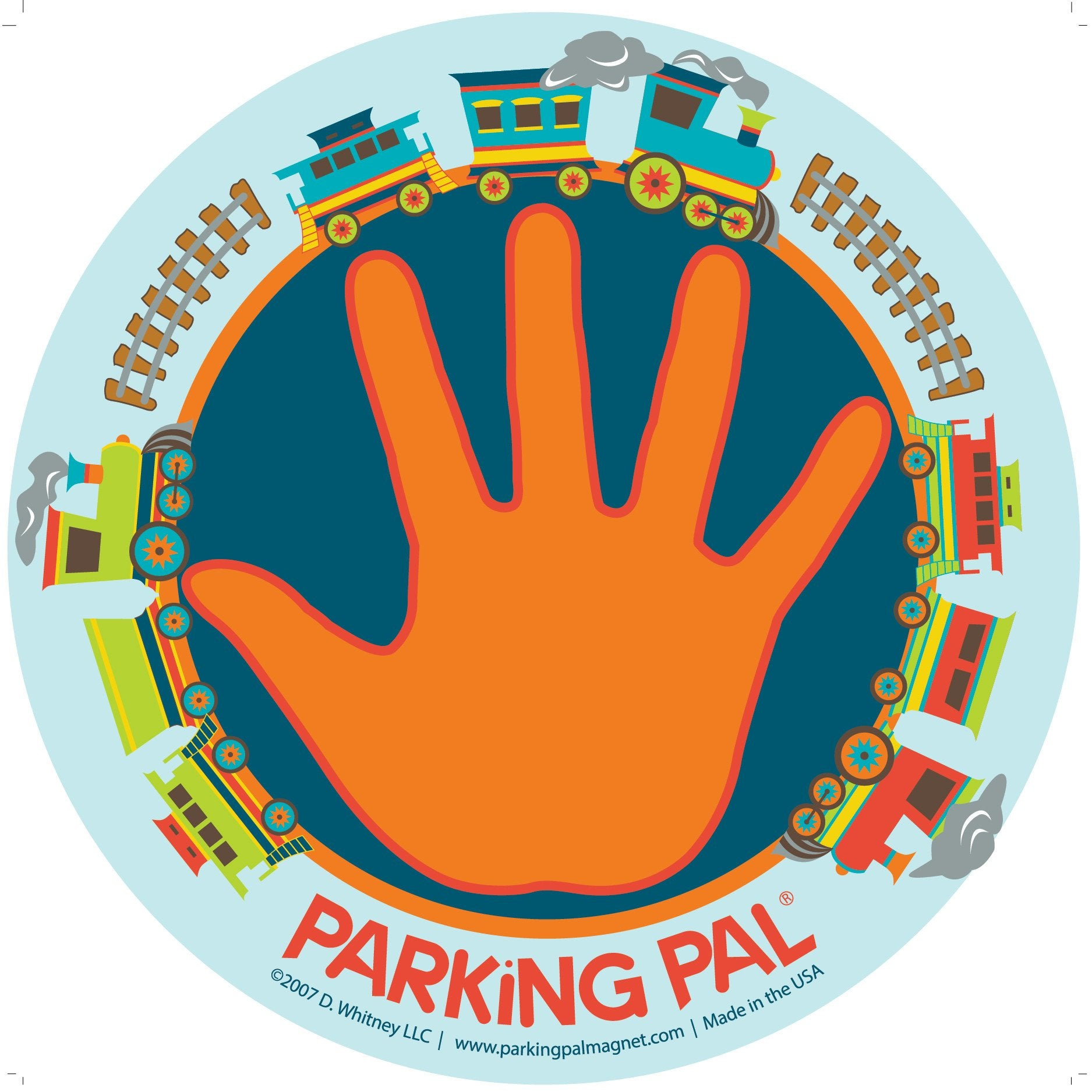 parking pal car safety magnet with trains and hand palm print