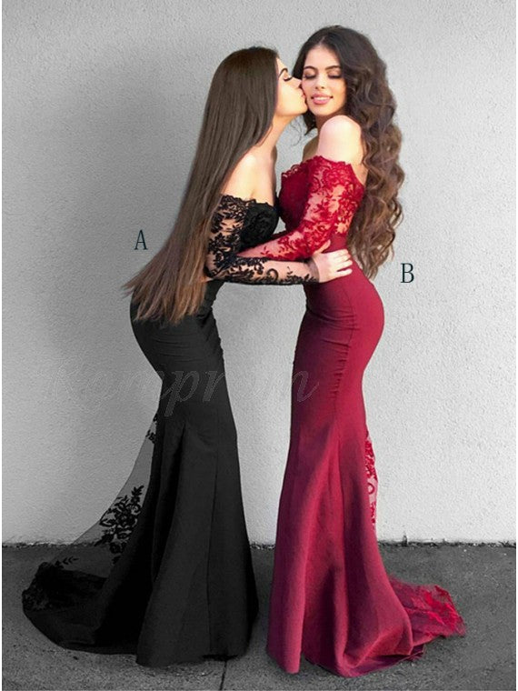 41f518badf Mermaid Off-the-Shoulder Long Sleeves Black Prom Dress with Lace Appliques  Formal Evening