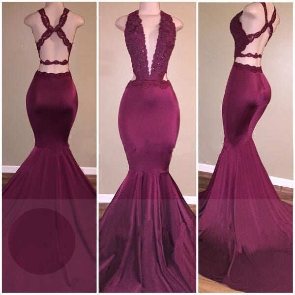 f539df0ba1 Sexy Mermaid Prom Dresses Deep V-Neck Lace Beading Crisscross Back Evening  Gowns ...