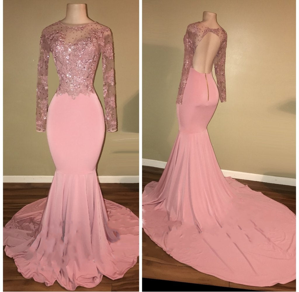 c217183ec9f ... Elegant Pink Mermaid Prom Dresses High Neck Open-Back Beaded Long  Sleeves Evening Gowns ...
