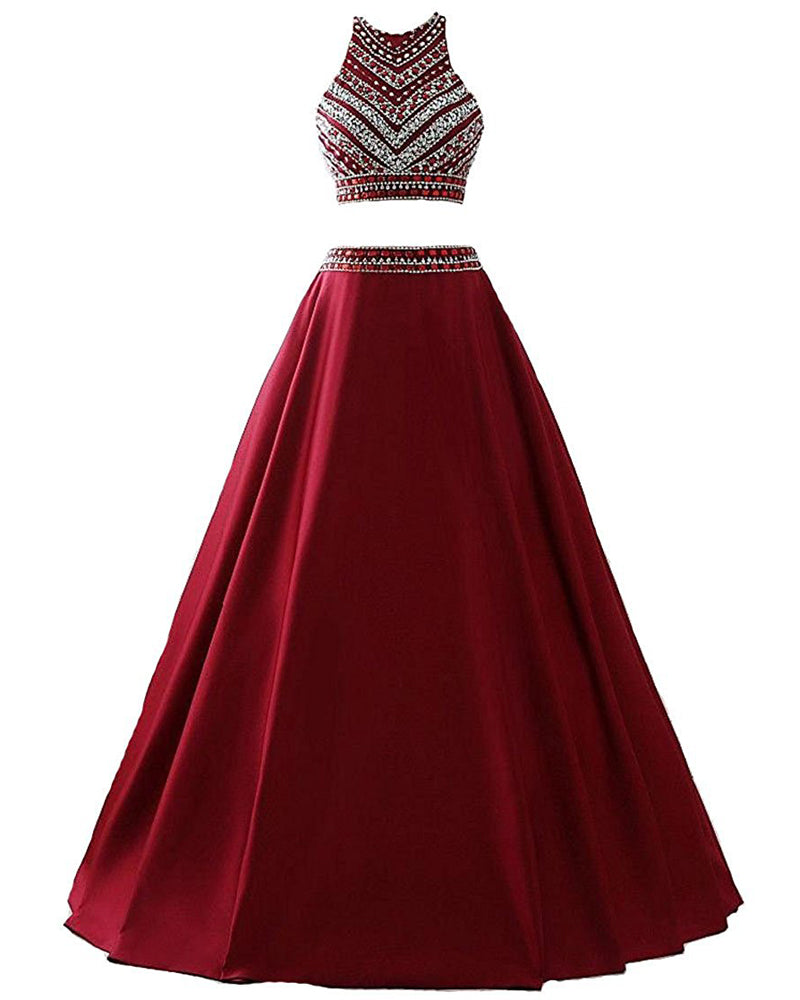 a21271bd927 Dressytailor 2018 Two Piece Long Beaded Burgundy Evening Gowns Satin Prom  Dress ...