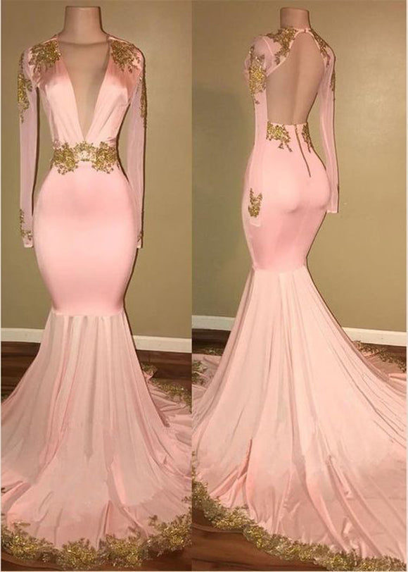 529d487e390 Open Back Long Sleeves Prom Dresses Sexy Mermaid Evening Gowns with Lace  Applique