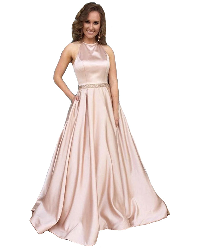 033daf9ed0 Dressytailor 2018 Women's Halter A-Line Beaded Satin Evening Prom Dress  Long Formal Gown With ...
