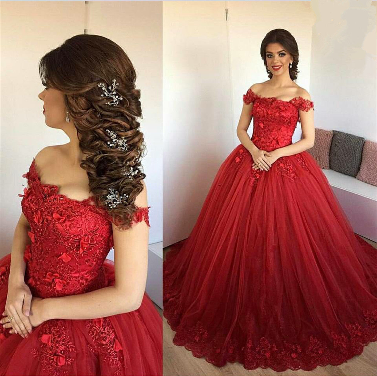 Ball Gown Quinceanera Dresses Off Shoulder Lace Appliques Beaded Tulle Plus  Size Burgundy Prom Dresses Long Sweet 16 Party Gowns