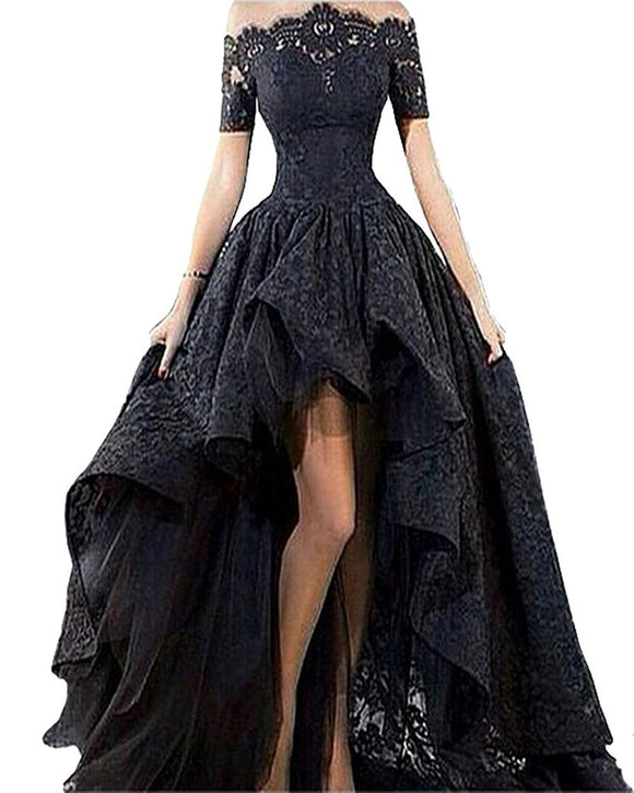 d8f0535c34d0 Dressytailor Women s Off the Shoulder High Low Black Prom Dress Lace  Evening Dress with Short Sleeve