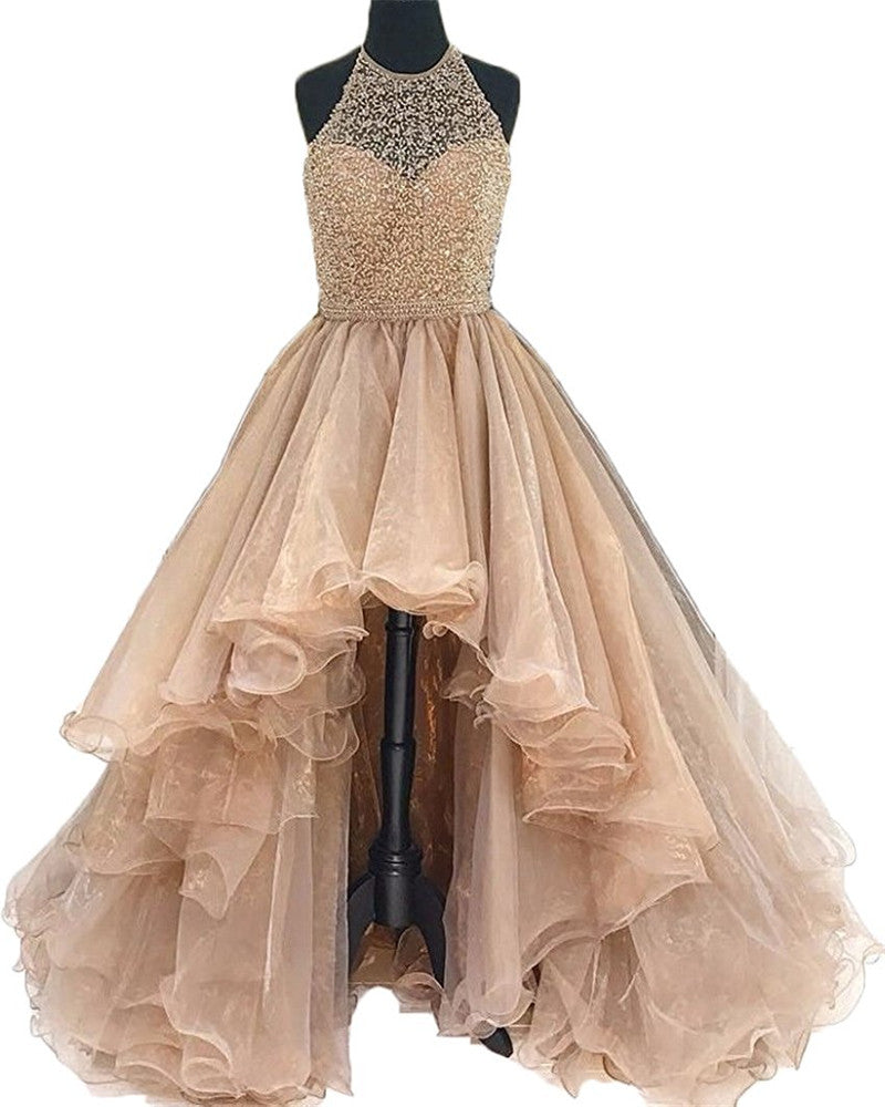 eb5812e3172 Dressytailor 2018 Women s High Low Beading Champagne Organza Halter Prom  Dress ...