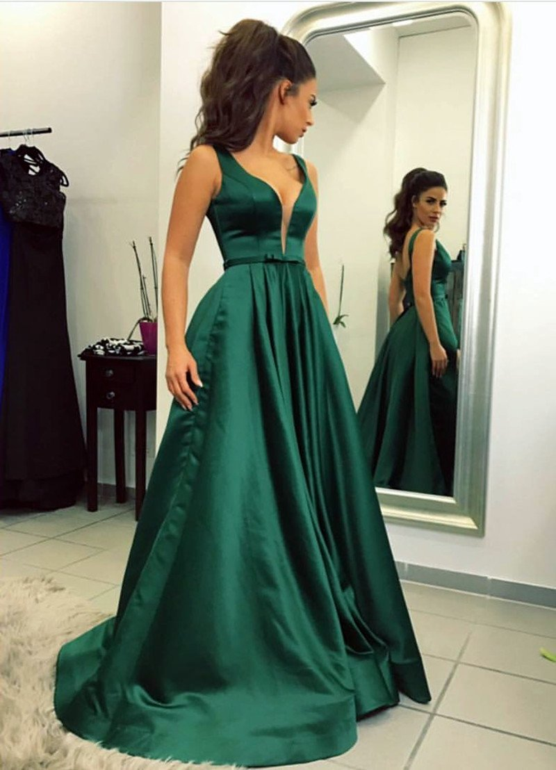 2aab5648a3f A-line V-neck Long Satin Emerald Green Prom Dresses Backless Evening Gowns  ...
