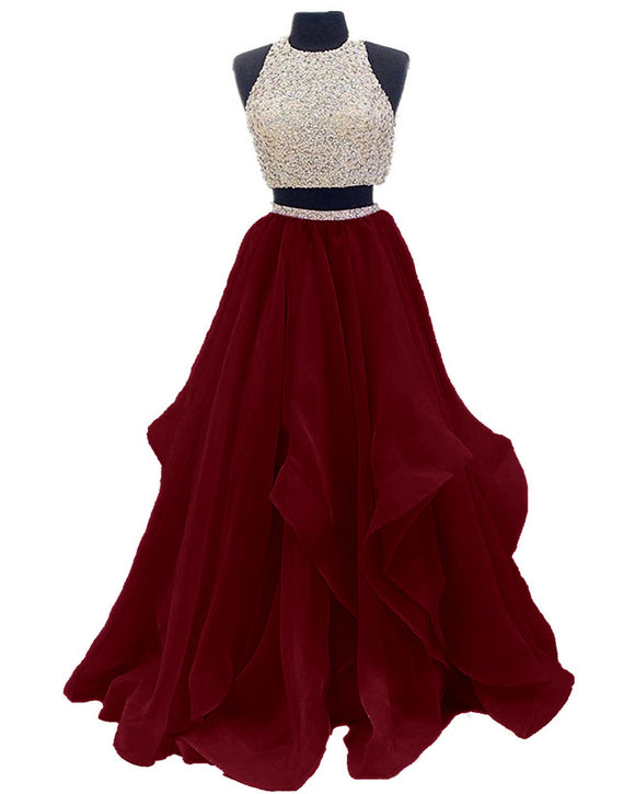 ddda14c83c6 Dressytailor 2018 Two Piece Floor Length Burgundy Organza Prom Dress Beaded Evening  Gown