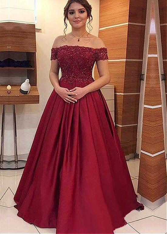 2b9f07fa1b6 Stunning Off the Shoulder Long Satin Prom Dress Lace Appliques Formal  Evening Gown