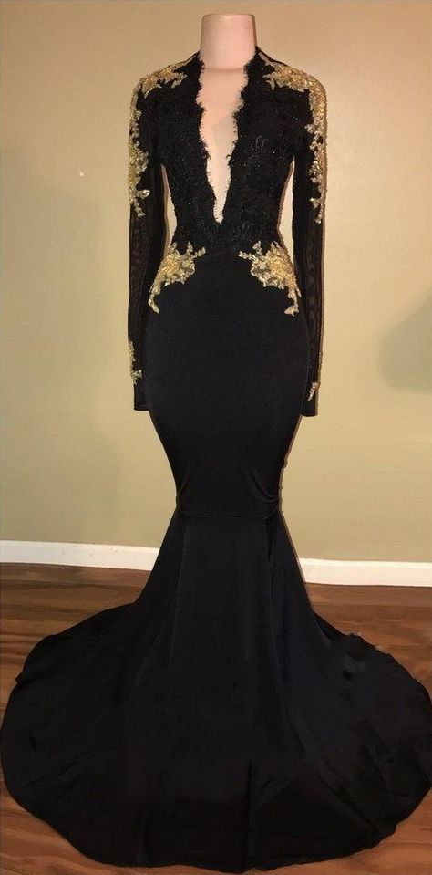 2db2393e9cf Sexy Black Mermaid Prom Dresses Long Sleeves V-Neck Evening Gowns with Lace  Applique
