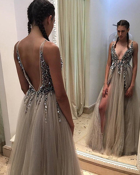 Dressytailor 2018 Sexy Gray Prom Dresses With Deep V Neck Sequins Tull
