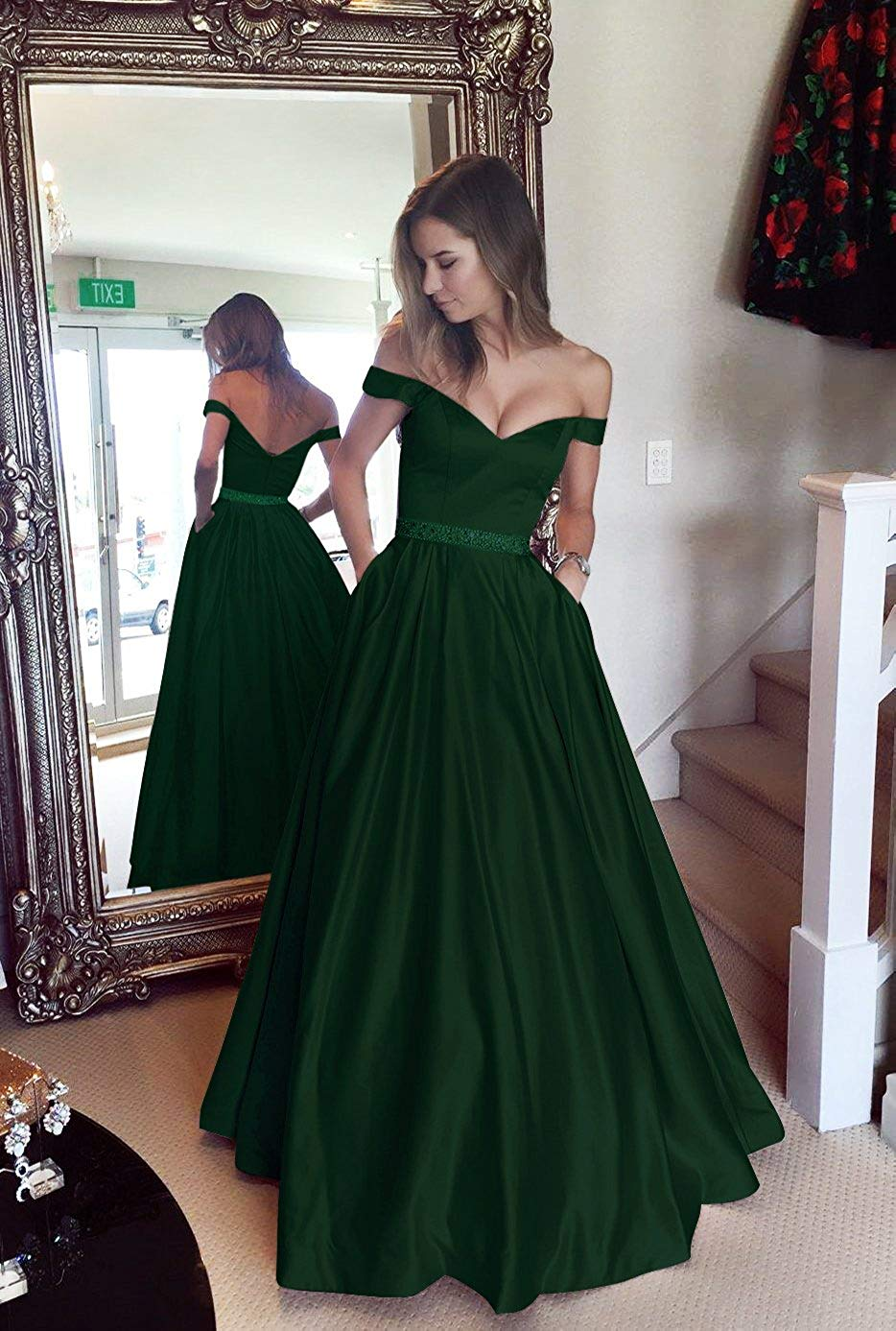 abb724b603 Dressytailor Long Satin Emerald Green Off the Shoulder Prom Dress Formal  Evening Gown with Pockets