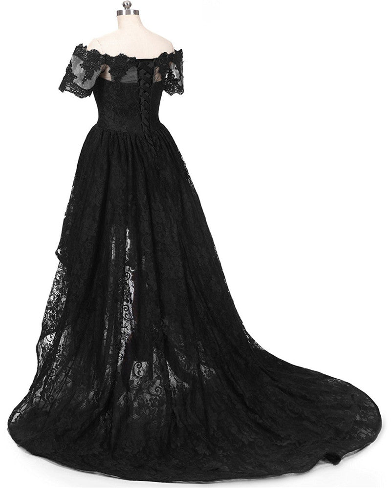 b49e324cde ... Dressytailor Women's Off the Shoulder High Low Prom Dress Lace Evening  Dress with Short Sleeve ...