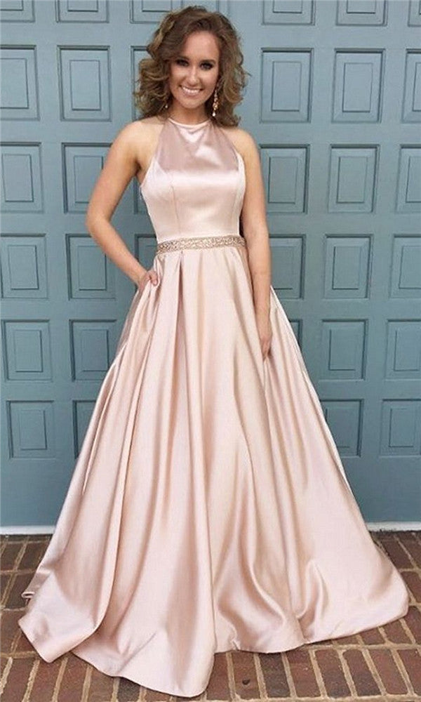 1b7a45ed2551 ... Dressytailor 2018 Women's Halter A-Line Beaded Satin Evening Prom Dress  Long Formal Gown With
