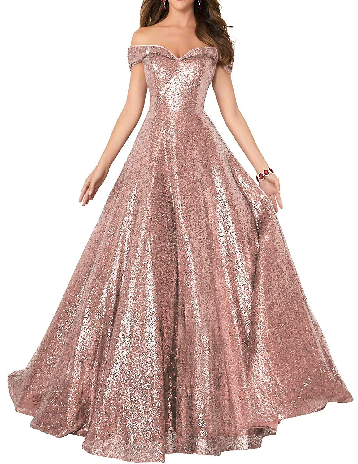 0c3cc869 ... Ball Gown Off the Shoulder Sweetheart Long Sequins Prom Dress Evening  Gown