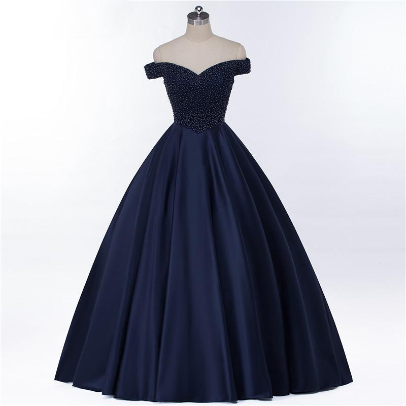 d0f4938661d Ball Gown Off the Shoulder Navy Blue Beaded Long Prom Dresses Evening Gowns  ...