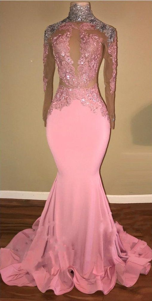 defa526f9f06 Elegant Pink Mermaid Prom Dresses High Neck Open-Back Beaded Long Sleeves  Evening Gowns
