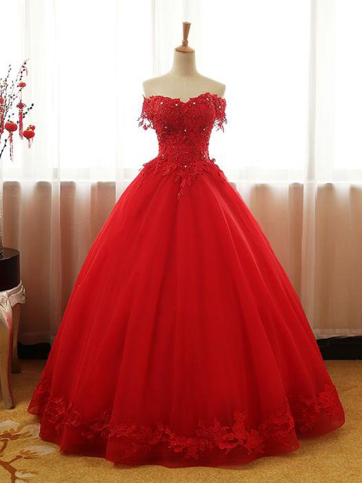 4225b93d380 Chic Red Ball Gown Prom Dress A-line Quinceanera Tulle Prom Dress Evening  Gown