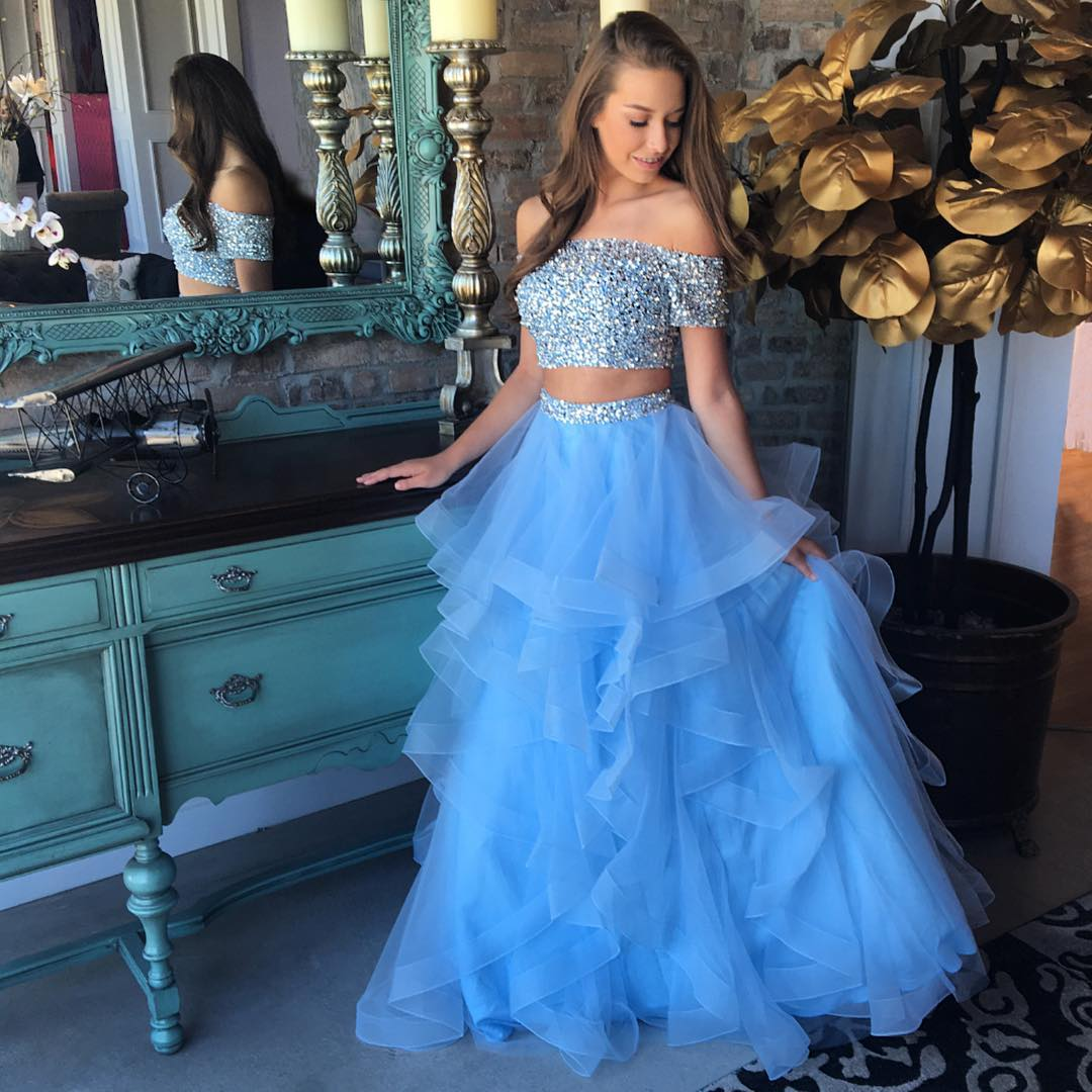 d5382ca467 Two Piece Off the Shoulder Long Organza Prom Dress Evening Party Dress with  Beading ...