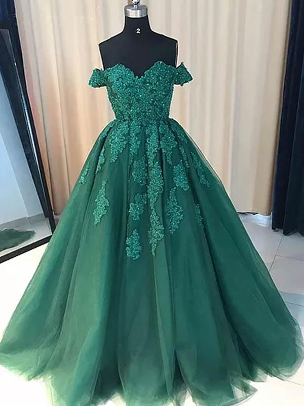 f59b44ac166 Ball Gown Off the Shoulder Sweetheart Emerald Green Long Tulle Quinceanera  Dress Prom Dress with Lace ...