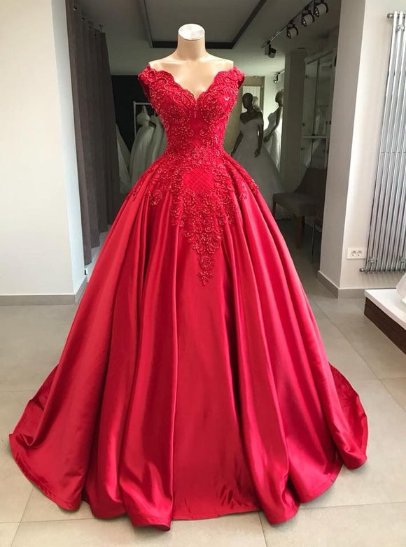 c97b0094fd911 Ball Gown Off the Shoulder Floor Length Satin Prom Dress With Lace Applique