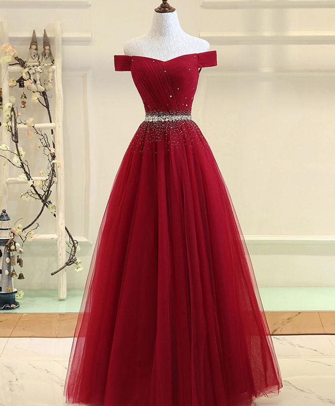 ca5eadae046d A-Line Off the Shoulder Long Tulle Prom Dress Ruched Evening Dress Lace Up  Back ...