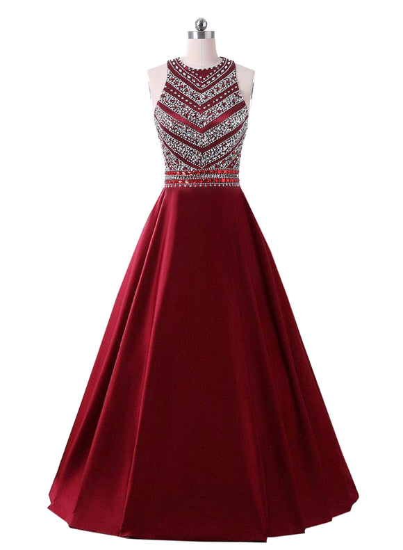 239258b3f45 Dressytailor 2019 Women s A-line Long Beaded Formal Evening Gown Satin Crystal  Prom Dresses with