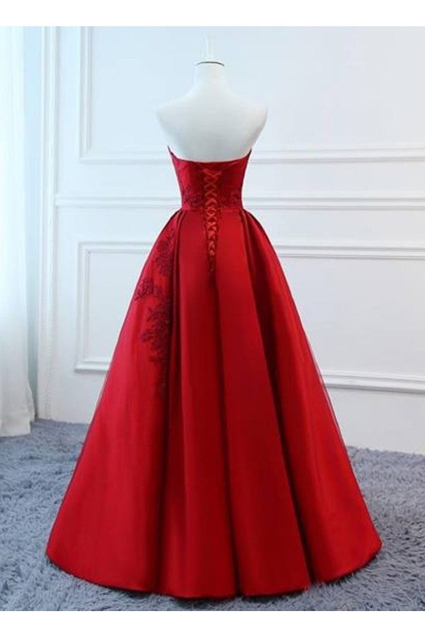 ba5548e5a6a5 ... Ball Gown V-neck Floor Length Satin Prom Dress with Lace Applique ...