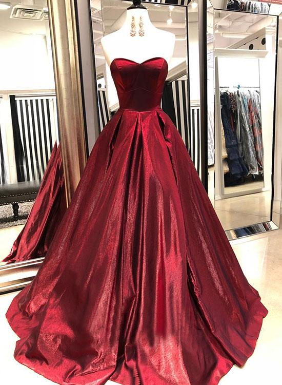 23b340458603 Gorgeous Ball Gown Strapless Sweetheart Long Satin Prom Dress Lace Up Back Evening  Gown ...
