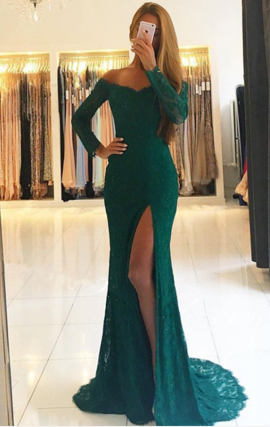 eb5933adbe3 Mermaid Off the Shoulder Emerald Green Long Sleeves Lace Prom Dress Formal  Evening Gown with Slit ...