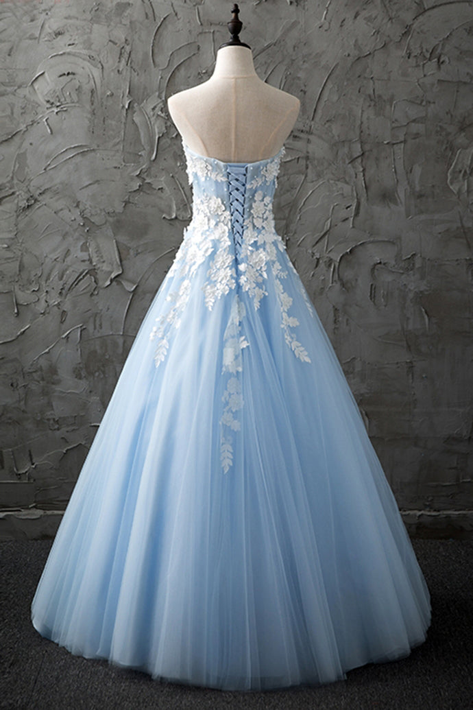 4c87b974a4c ... Ball Gown Strapless Sweetheart Light Blue Tulle Long Prom Dress with  Lace Applique ...