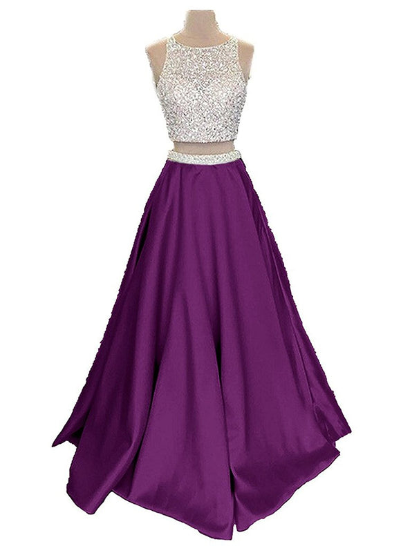 f66fa176e09 Two Piece Long Satin Beaded Prom Dress Sequined Evening Dress with Pockets
