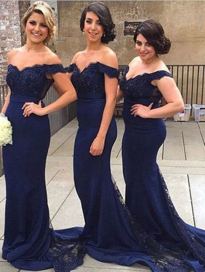 7fb843b4003 Off the Shoulder Mermaid Dark Royal Blue Bridesmaid Dresses Formal Evening  Gown with Lace Applique ...