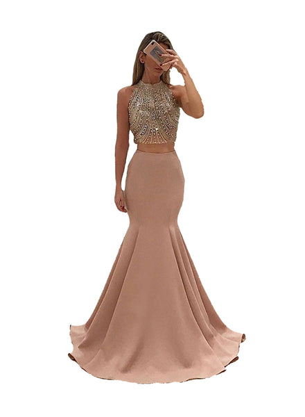 Dressytailor 2018 Two Piece Beaded Sparkly Mermaid Prom Dresses Formal