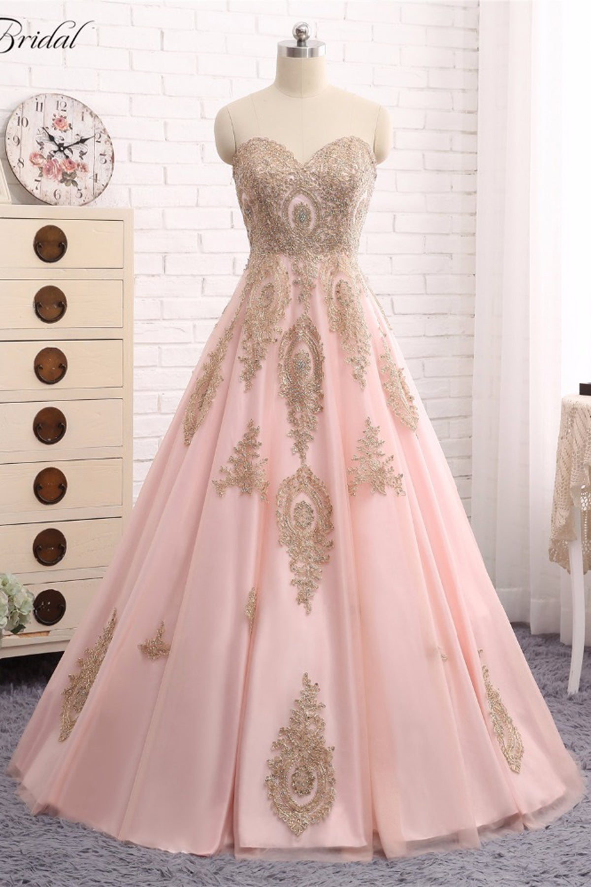 cf593ad30104 ... Tulle Long Prom Dress Gold Lace Applique Evening Gown. Touch to zoom