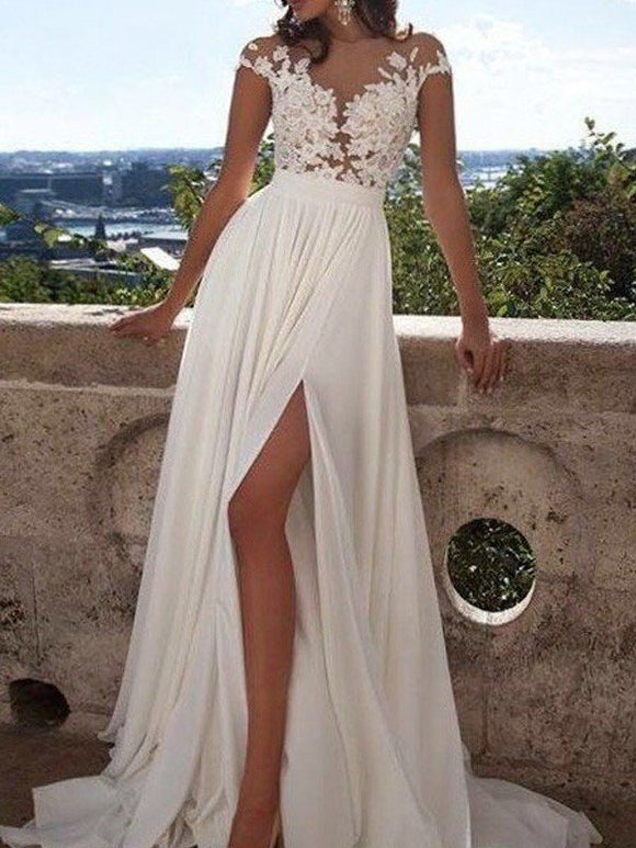 8cf94111fe699 A-Line Short Sleeves Scoop Floor-Length Lace Applique Chiffon Beach Wedding  Dresses