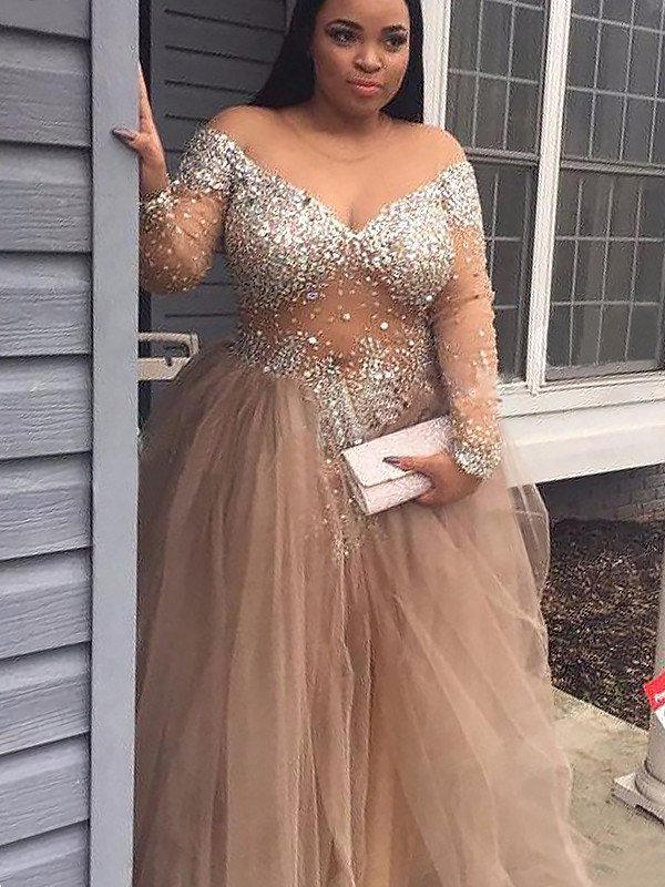 65e25739df Ball Gown Off-the-Shoulder Long Sleeves Sequin Tulle Floor-Length Prom  Dresses dressytailor size chart Ball Gown Jewel Long Sleeves Sweep Brush  Train ...