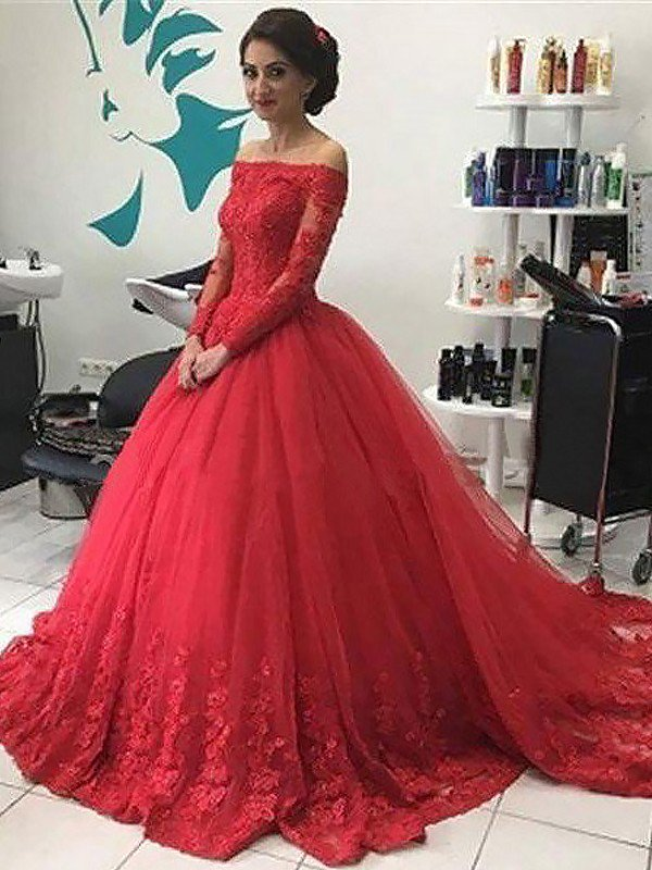 1b7aa829b978a4 Ball Gown Off-the-Shoulder Long Sleeves Lace Tulle Sweep/Brush Train Prom  ...