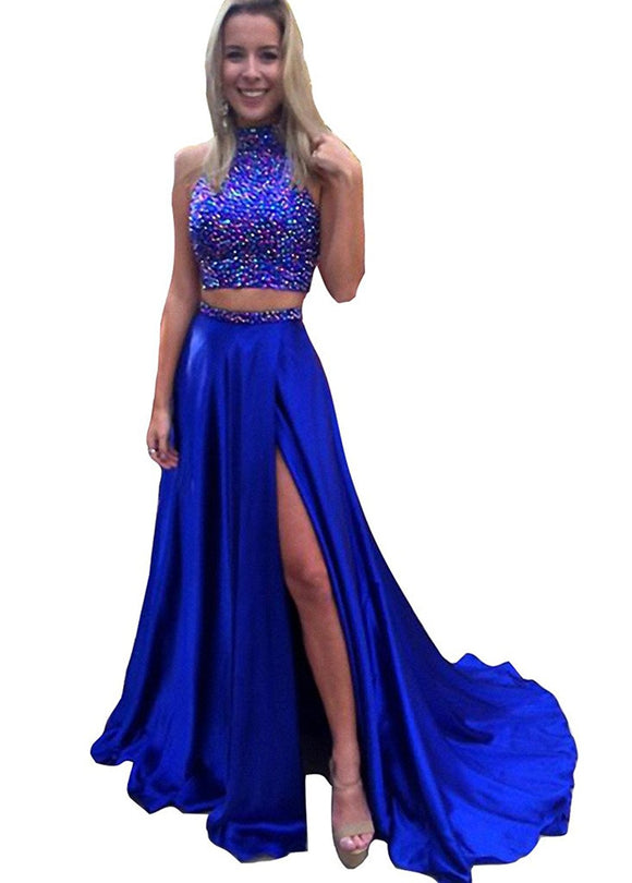 Dressytailor Two Piece Halter Beaded Crystal Long Prom Dress Evening Gown  with Slit e3ba42149f7d