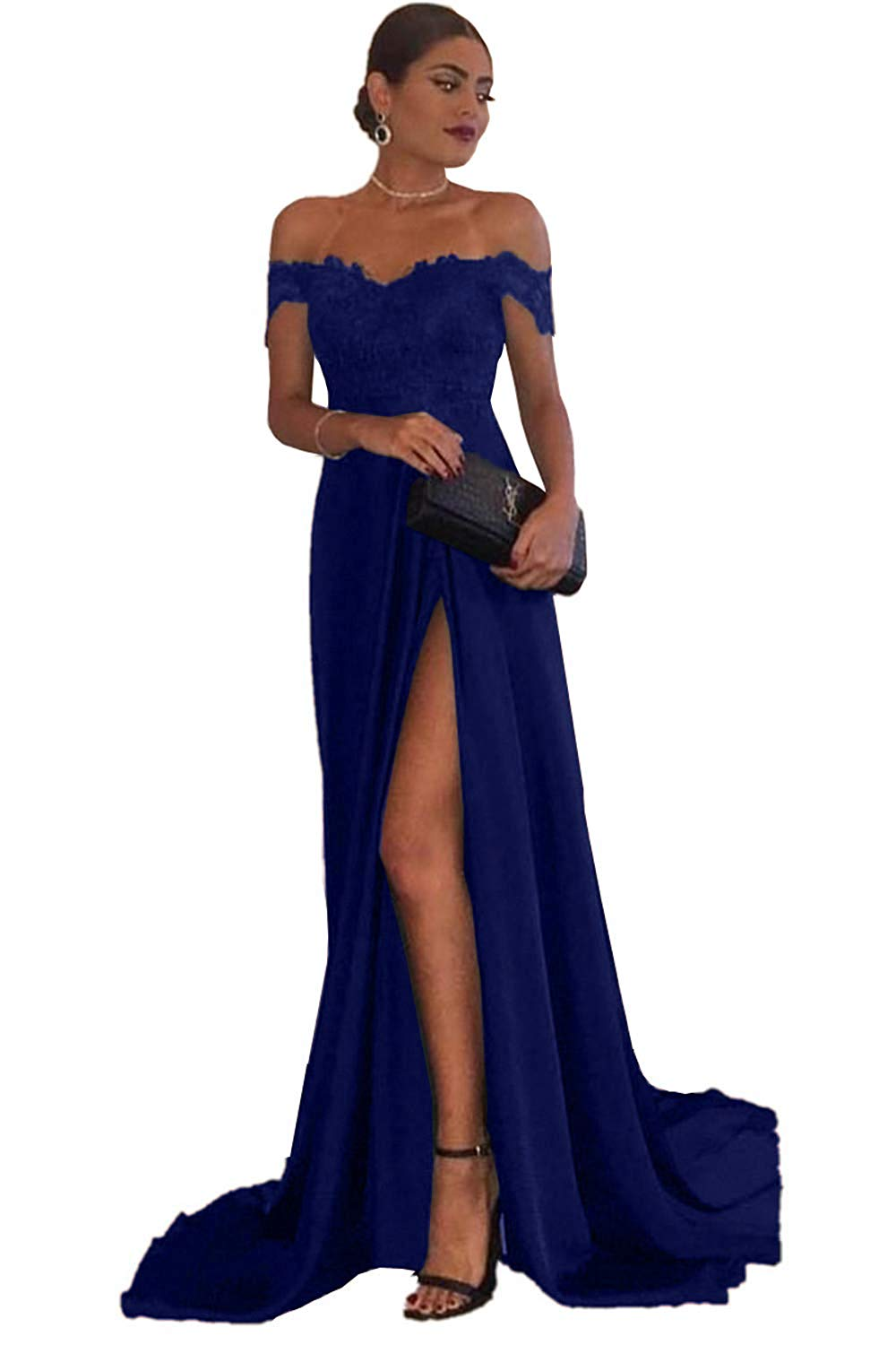 ba26c0eeb09e A-line Off the Shoulder Sweetheart Sexy Long Satin Prom Dresses Lace  Applique Evening Gowns with Split