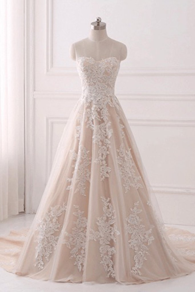 020a4813504 A-line Strapless Sweetheart Long Tulle Lace Applique Prom Dresses Corset  Back ...