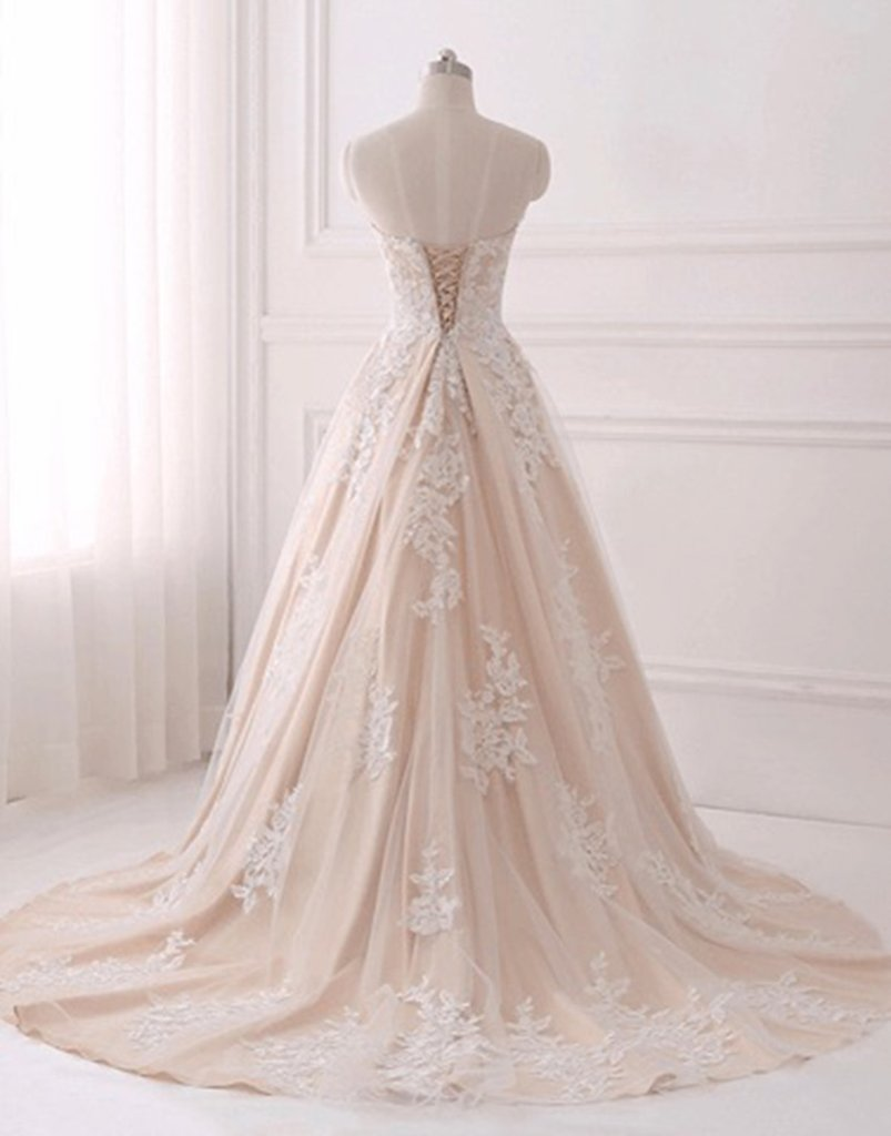 af119f51890 ... A-line Strapless Sweetheart Long Tulle Lace Applique Prom Dresses  Corset Back ...