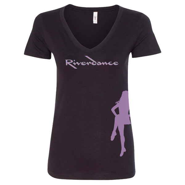Riverdance Black Ladies Dancer V-Neck Tee