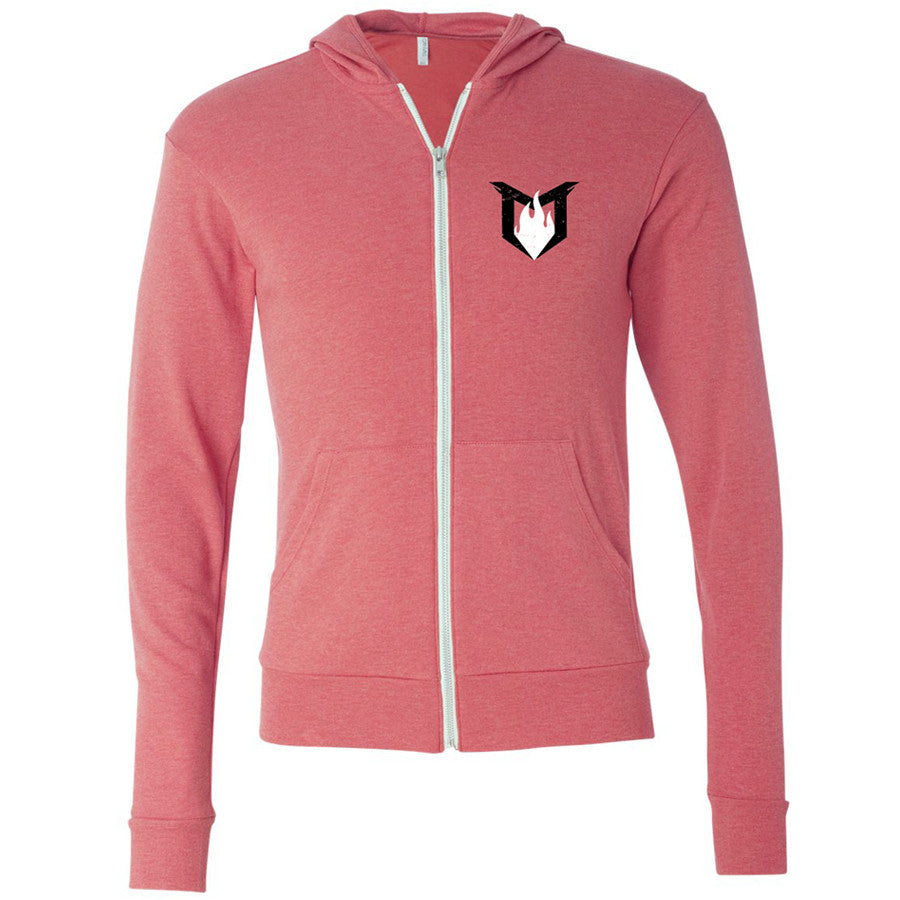 Unisex Tri-Blend Full Zip - Red